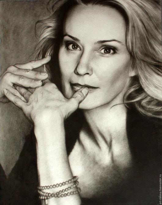 """Люди, ручной работы. Ярмарка Мастеров - ручная работа. Купить Портрет в технике """"сухая кисть"""".. Handmade. Чёрно-белый"""