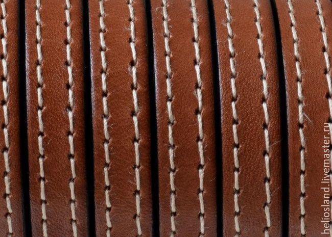 Кожаный шнур 10х2 мм с прострочкой коньяк, Шнуры, Москва,  Фото №1