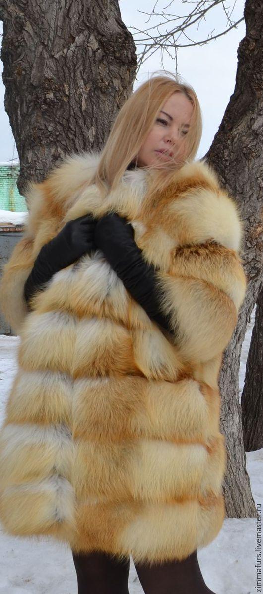 Верхняя одежда ручной работы. Ярмарка Мастеров - ручная работа. Купить Шуба. Жилет из меха сибирской рыжей лисы. Поперечная.. Handmade.
