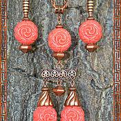 Украшения ручной работы. Ярмарка Мастеров - ручная работа Стильный набор Коралловые цветы. Handmade.