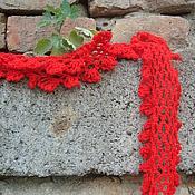 Аксессуары ручной работы. Ярмарка Мастеров - ручная работа Летний ажурный вязаный шарфик Зорька алая. Handmade.