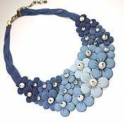 Украшения handmade. Livemaster - original item Leather necklace: Rainbow Denim Etude Genuine leather and pearls. Handmade.