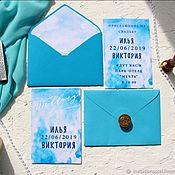 Приглашения ручной работы. Ярмарка Мастеров - ручная работа Приглашение на свадьбу Акварельное небо на заказ. Handmade.