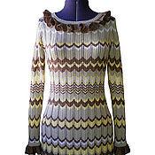 Одежда ручной работы. Ярмарка Мастеров - ручная работа Платье с волнообразным рисунком бежево-коричневое. Handmade.