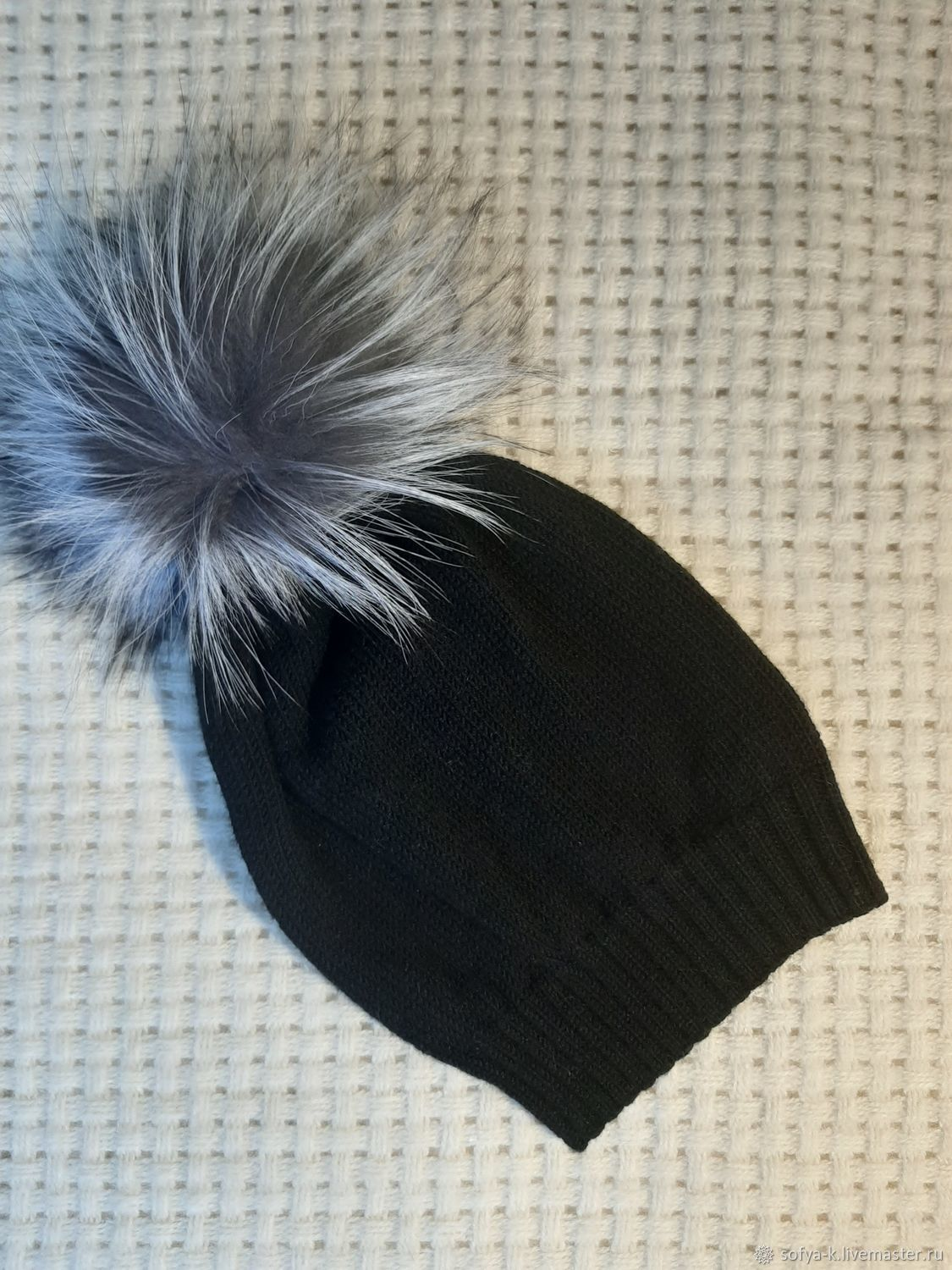 Merino wool hat with pompom ' Night', Caps, Moscow,  Фото №1