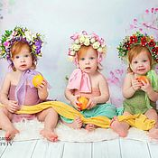 Работы для детей, ручной работы. Ярмарка Мастеров - ручная работа Шапочка с цветами для фотосессии девочки. Handmade.