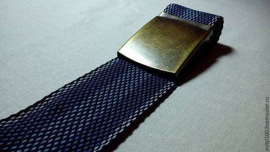 Ткачество ручной работы. Ярмарка Мастеров - ручная работа. Купить Пояс с пряжкой (никель, бронза). Handmade. Тёмно-синий
