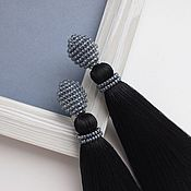 Украшения handmade. Livemaster - original item Dark tassel earrings. Handmade.