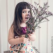 Работы для детей, ручной работы. Ярмарка Мастеров - ручная работа Задорный  фиолетовый летний сарафан в горох. Handmade.