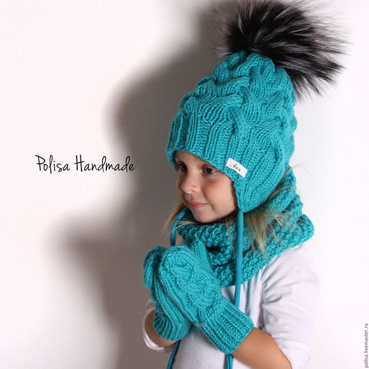 Шапки и шарфы ручной работы. Ярмарка Мастеров - ручная работа. Купить Зимняя шапка с помпоном, снуд и варежки. Handmade. Орнамент