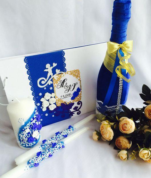 Свадебные аксессуары ручной работы. Ярмарка Мастеров - ручная работа. Купить Комплект свадебных аксессуаров в синем цвете. Handmade. бусины