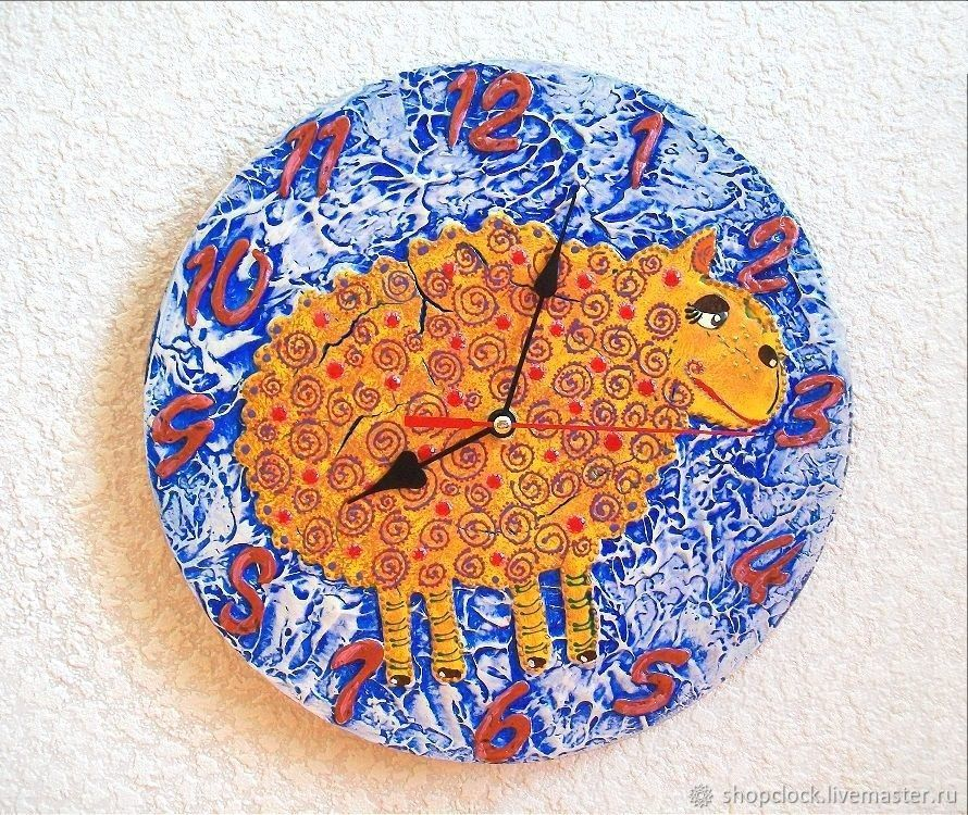 Wall clock Golden lamb, gift to the boy, Watch, Novosibirsk,  Фото №1