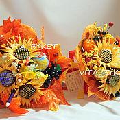 Цветы и флористика ручной работы. Ярмарка Мастеров - ручная работа букеты из конфет с глобусом и карандашами на 1 сентября. Handmade.