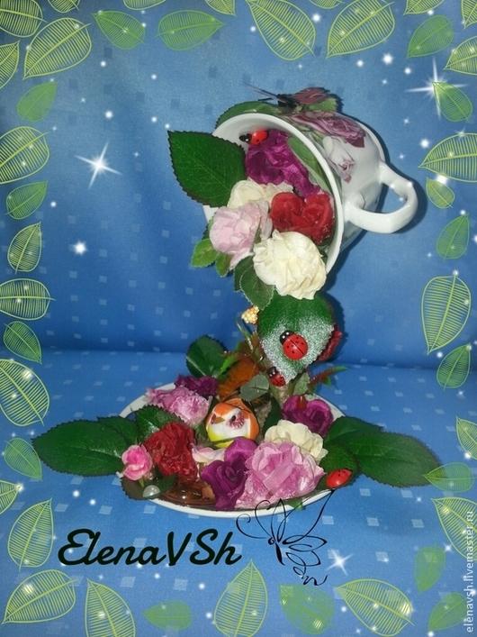 Топиарии ручной работы. Ярмарка Мастеров - ручная работа. Купить Цветочная чашка Птичка певчая.. Handmade. Цветочная чашка, сувенир