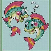 Материалы для творчества handmade. Livemaster - original item Fish. The scheme for embroidery cross. Handmade.