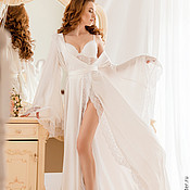 """Одежда ручной работы. Ярмарка Мастеров - ручная работа """"Царевна-Лебедь"""" - изысканный свадебный пеньюар с кружевом. Handmade."""