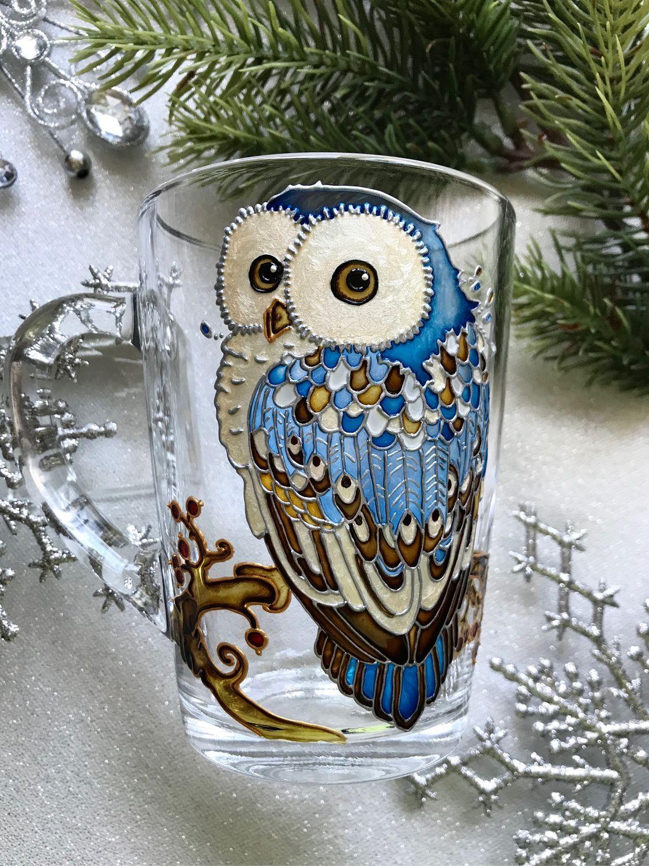 Glass mug with hand painted Owl, Mugs, Moscow,  Фото №1