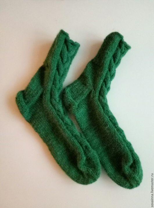 """Носки, Чулки ручной работы. Ярмарка Мастеров - ручная работа. Купить Носочки вязаные,,Роскошная жизнь"""". Handmade. Тёмно-зелёный"""