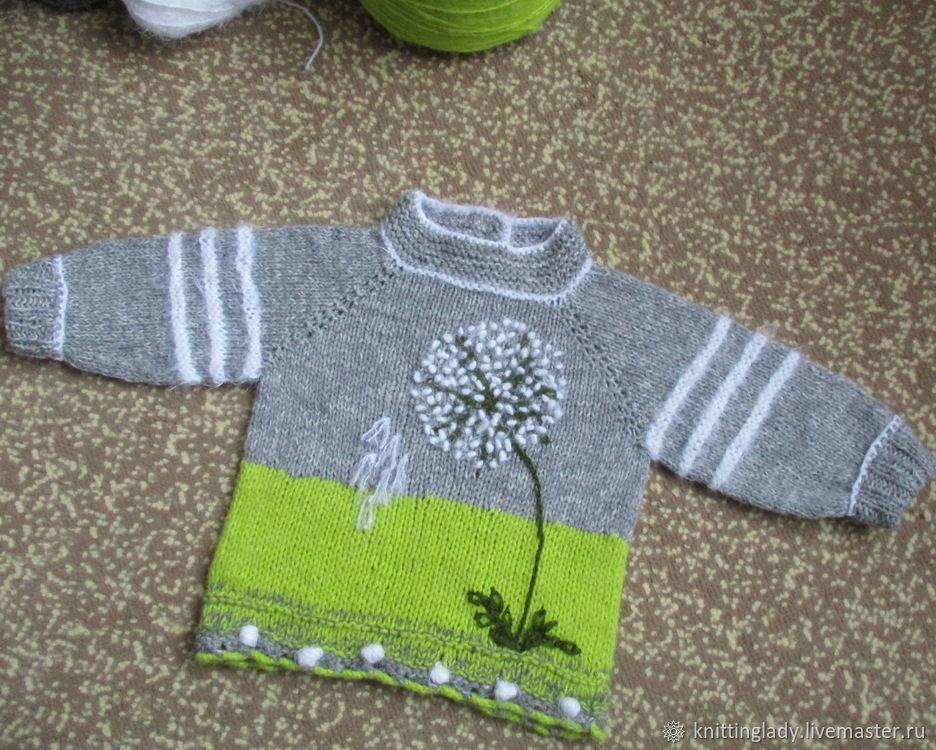 Вязаный детский свитер с вышивкой, Свитеры и джемперы, Калач,  Фото №1