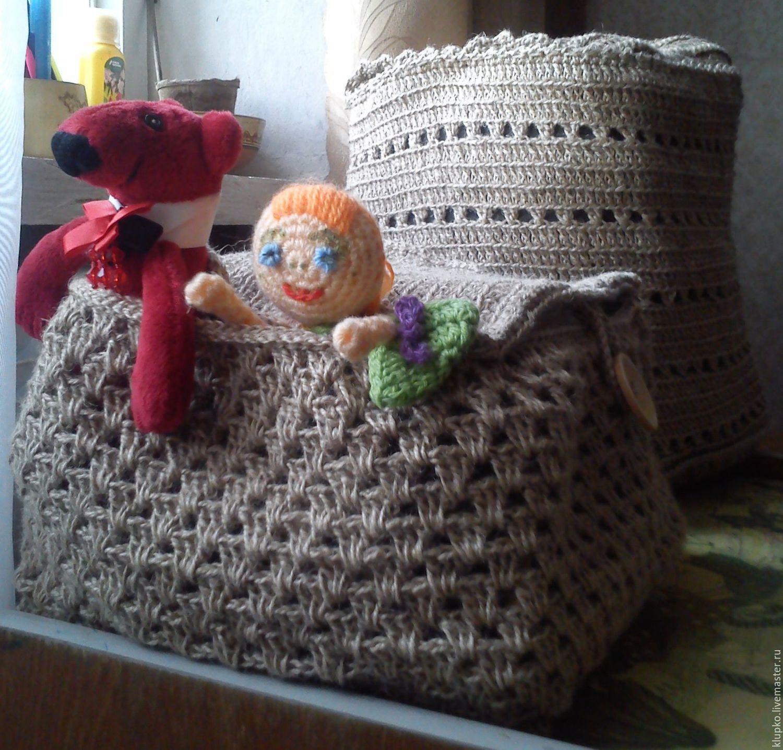 вязание корзины джутом