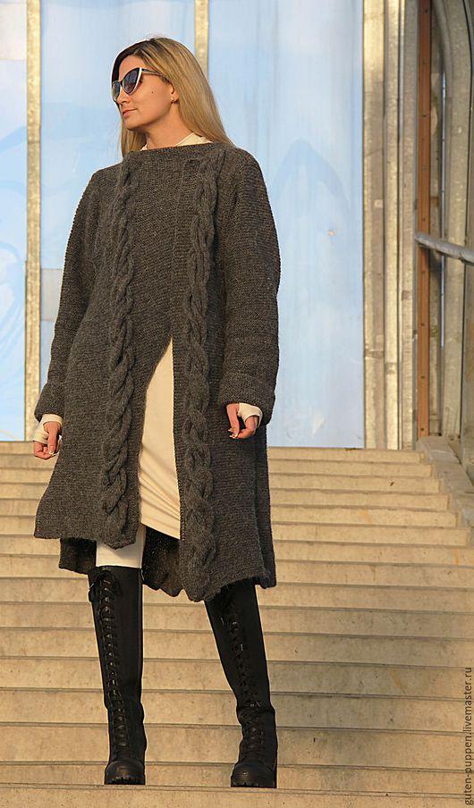 Кофты и свитера ручной работы. Ярмарка Мастеров - ручная работа. Купить Вязаный кардиган в стиле Бохо. Handmade. Темно-серый