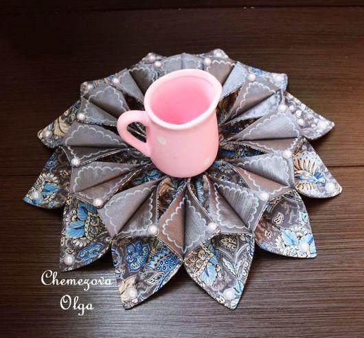 Текстиль, ковры ручной работы. Ярмарка Мастеров - ручная работа. Купить Объемная салфетка - украшение. Handmade. Серый, хлолок