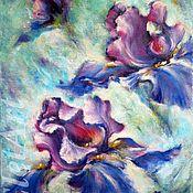 Картины и панно handmade. Livemaster - original item Floral oil paintings on canvas Original painting of flowers iris. Handmade.