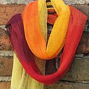 Аксессуары handmade. Livemaster - original item Linen scarf multicolor (72cmx 200cm). Handmade.