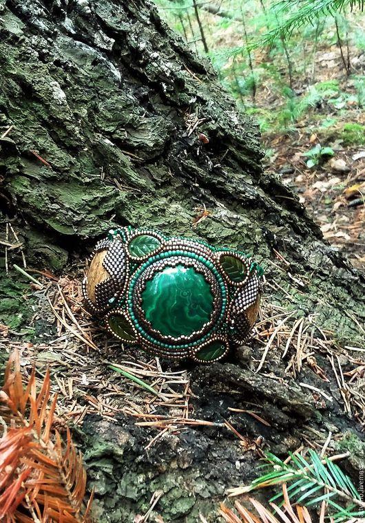 """Браслеты ручной работы. Ярмарка Мастеров - ручная работа. Купить Браслет  """"Каменный цветок"""". Handmade. Зеленый, бисер, малахит натуральный"""