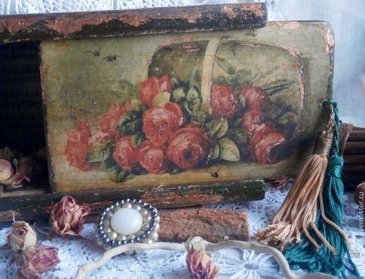 Корзины, коробы ручной работы. Ярмарка Мастеров - ручная работа. Купить Шкатулка Розы из прошлого. Handmade. Розы, дом, кисти