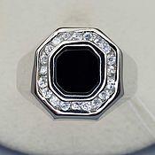 Украшения handmade. Livemaster - original item Silver ring with black onyx 8h8 mm and cubic zirconia. Handmade.