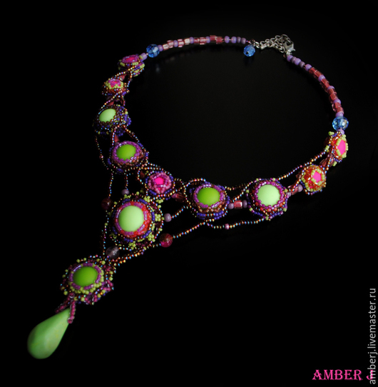 """Колье, бусы ручной работы. Ярмарка Мастеров - ручная работа. Купить Колье """"Neon"""". Handmade. Разноцветный, фиолетовый"""