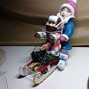 Куклы и пупсы ручной работы. Ярмарка Мастеров - ручная работа Ватные игрушки дети на санках.14см.. Handmade.