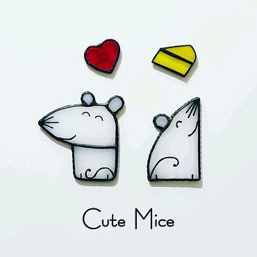Сувениры и подарки ручной работы. Ярмарка Мастеров - ручная работа Магниты на холодильник из стекла Милые Мышата Cute Mice #053. Handmade.
