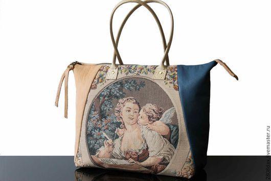 """Женские сумки ручной работы. Ярмарка Мастеров - ручная работа. Купить Саквояж """"La Dame"""", гобелен, сумка кожаная, синий, персиковый. Handmade."""