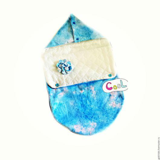 """Для новорожденных, ручной работы. Ярмарка Мастеров - ручная работа. Купить Конверт на выписку """"облачные мечты"""". Handmade. Голубой, на выписку"""