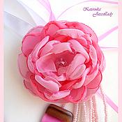 """Комплекты украшений ручной работы. Ярмарка Мастеров - ручная работа """"Розовый фламинго"""" Комплект (бусы,серьги,цветок-брошь). Handmade."""
