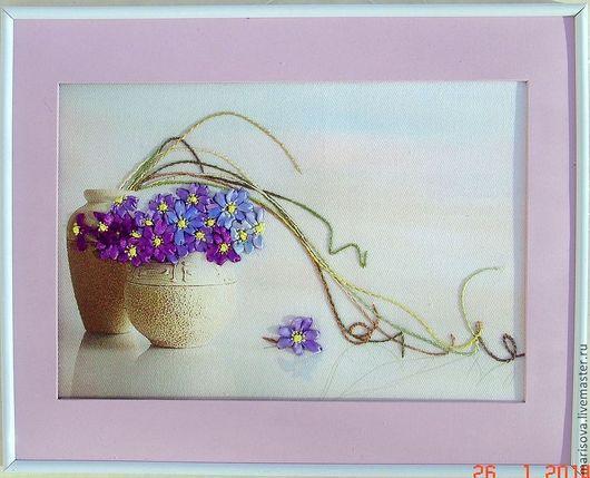 """Картины цветов ручной работы. Ярмарка Мастеров - ручная работа. Купить Картина лентами """"Фантазия"""". Handmade. Незабудки, цветы"""
