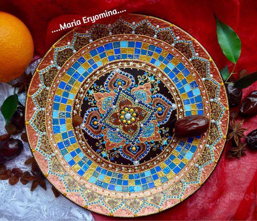 Декоративная посуда ручной работы. Ярмарка Мастеров - ручная работа. Купить Тарелка декоративная в технике точечная роспись Марокканская мозаика. Handmade.