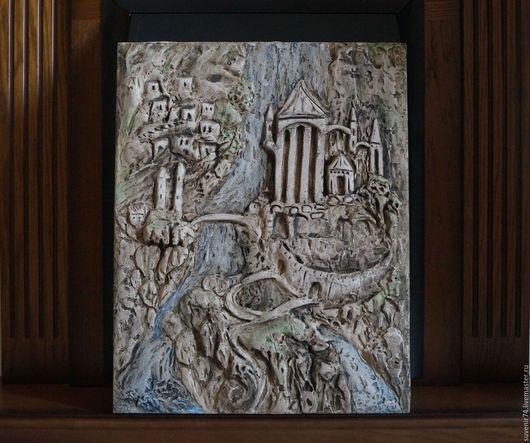 """Город ручной работы. Ярмарка Мастеров - ручная работа. Купить Рельефное панно """"Древний скальный город"""". Handmade. Коричневый, барельеф"""