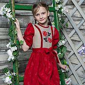 Работы для детей, ручной работы. Ярмарка Мастеров - ручная работа Платье льняное с вышивкой. Handmade.