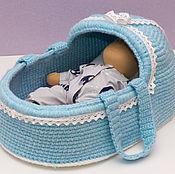 Куклы и игрушки handmade. Livemaster - original item Knitted cradle-carrying for a doll. Handmade.