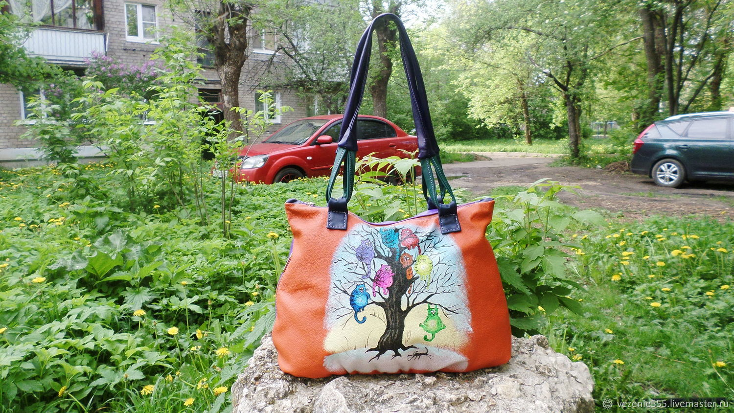 Leather bag with painting double-sided custom for Anastasia, Classic Bag, Noginsk,  Фото №1