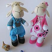 Куклы и игрушки ручной работы. Ярмарка Мастеров - ручная работа Овечки. Игрушка текстильная. Стильная парочка.. Handmade.