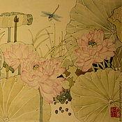 Картины и панно ручной работы. Ярмарка Мастеров - ручная работа картинаЛотосовый пруд и стрекоза(китайская живопись акварель цветы). Handmade.