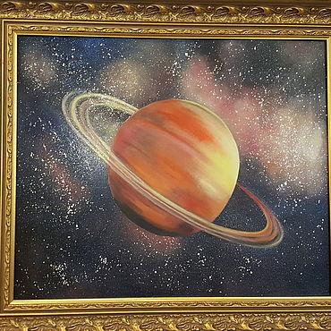 Картины и панно ручной работы. Ярмарка Мастеров - ручная работа Планета Сатурн по фото. Handmade.