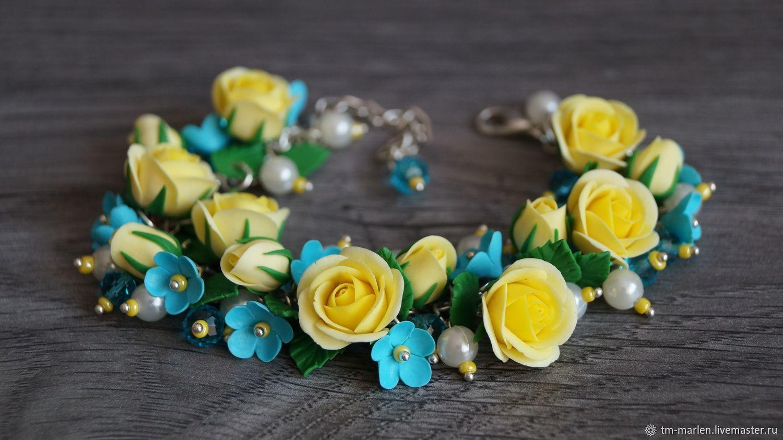Браслет с желтыми розами и незабудками