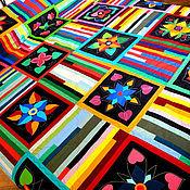 Для дома и интерьера ручной работы. Ярмарка Мастеров - ручная работа лоскутное покрывало ФИЛОСОФИЯ ЦВЕТА (все цветочные блоки - аппликации). Handmade.