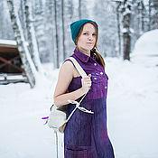 Одежда handmade. Livemaster - original item dresses: Denim purple sundress dress from recycled jeans. Handmade.