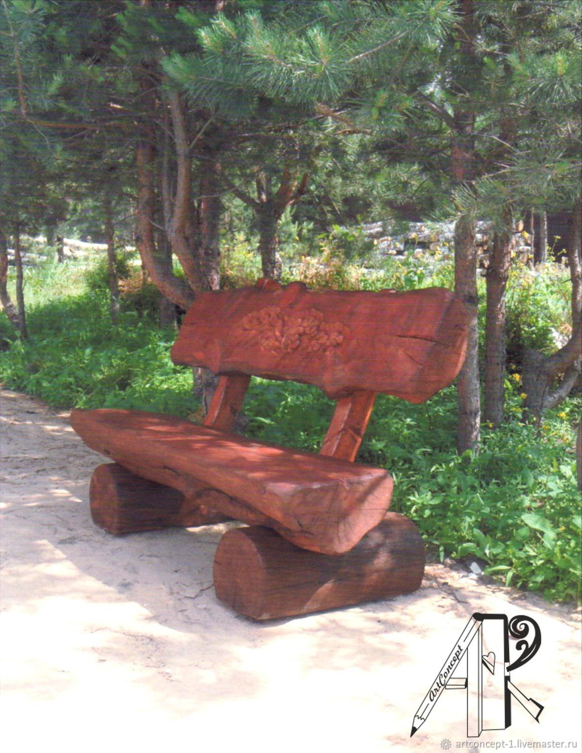 Garden bench made of solid pine - solid log, Garden benches, Ryazan,  Фото №1